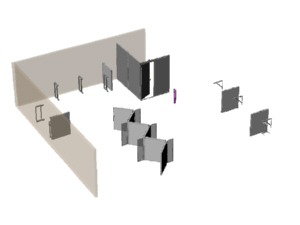 Office partition layout showing trendy cubicle configuration and countertop brackets, for Answerall