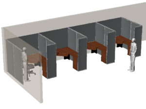 Office cubicles with return panels, for Bender company