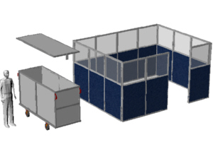 Conference and meeting room  using office window panels with shipping cart, for Bose Systems