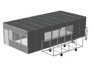 Complete portable room  and roof with a cart for Conquest company