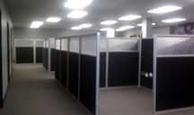 office partitions with black fabric
