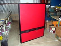 office panel with red naugahyde surface