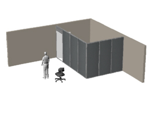 Basic office panels forming a private office in a corner of a large room, for Volk Optical company